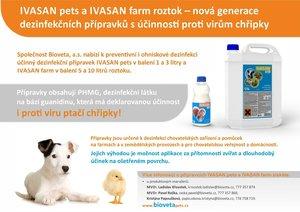 IVASAN pets a IVASAN farm  - nová generace dezinfekčních přípravků účinných i proti virům chřipky